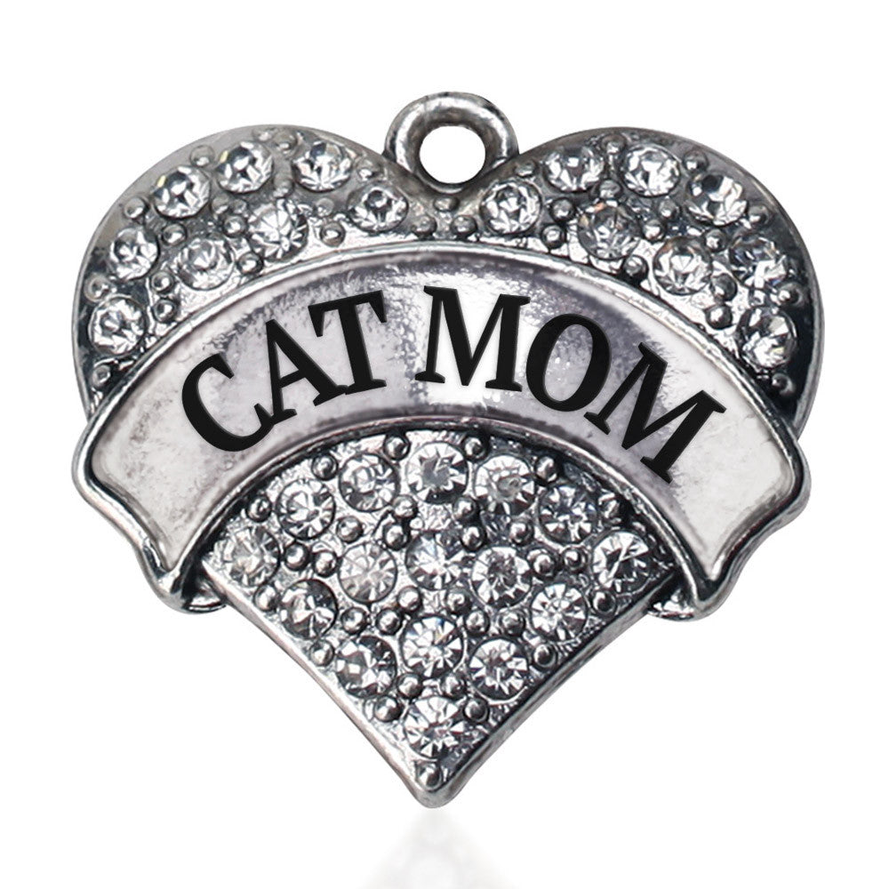 Cat Mom Pave Heart Charm