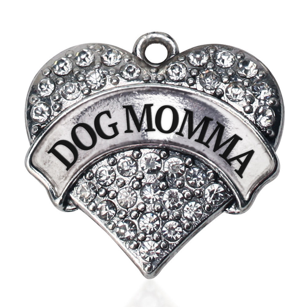 Dog Momma Pave Heart Charm