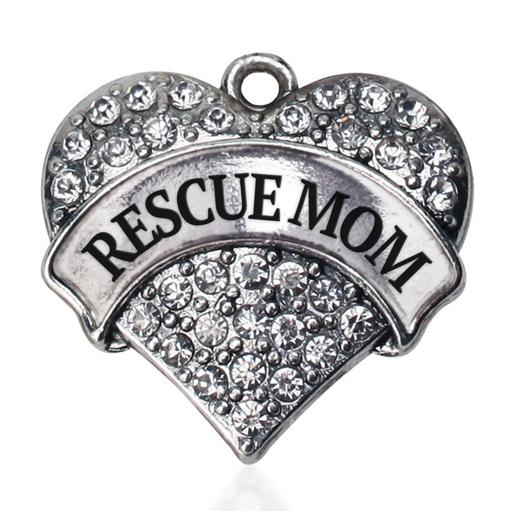 Rescue Mom Pave Heart Charm