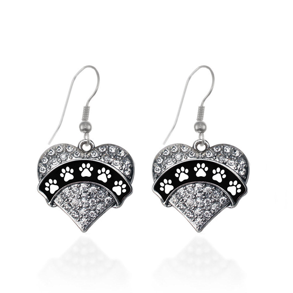 Cute Paw Prints Pave Heart Charm