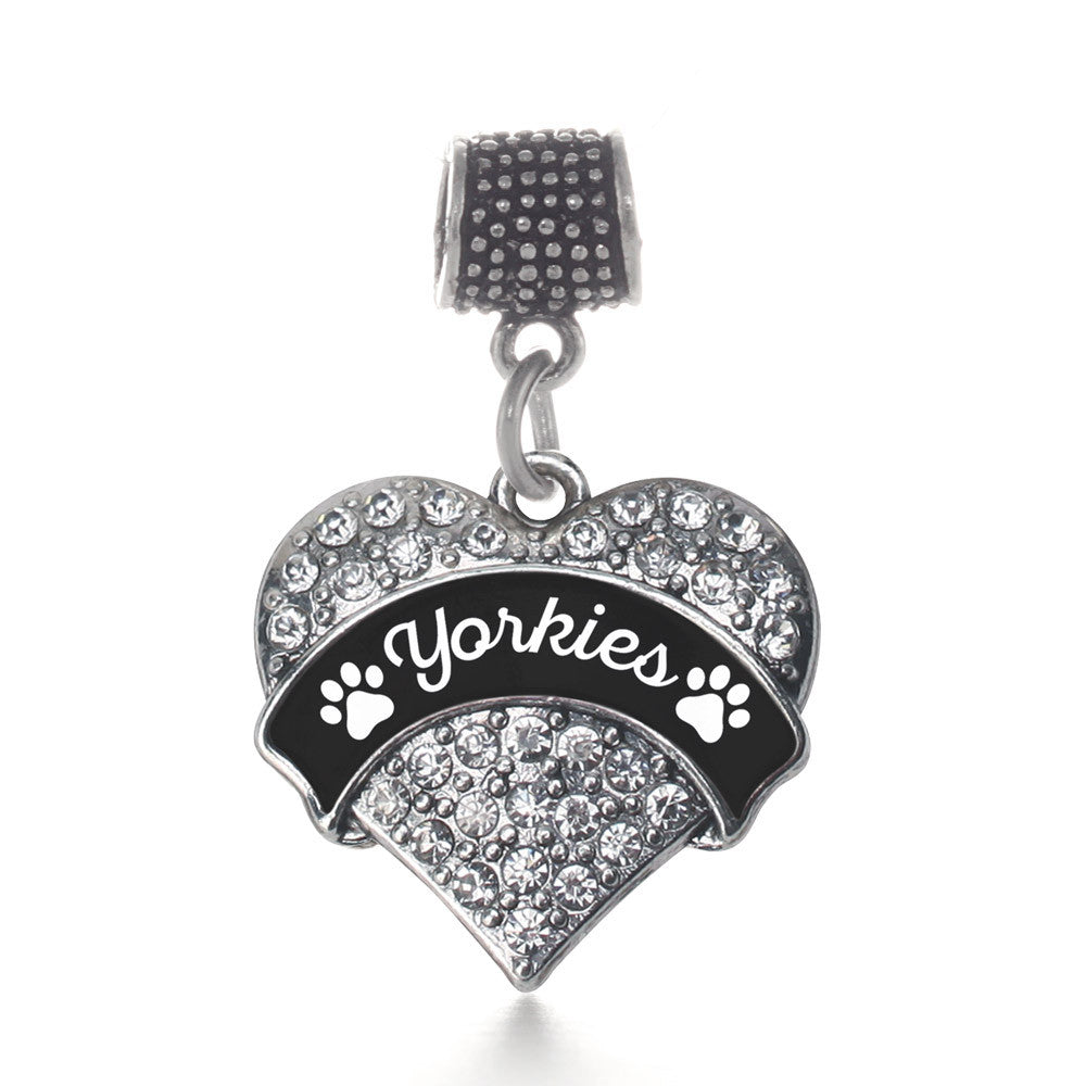 Yorkies - Paw Prints Pave Heart Charm