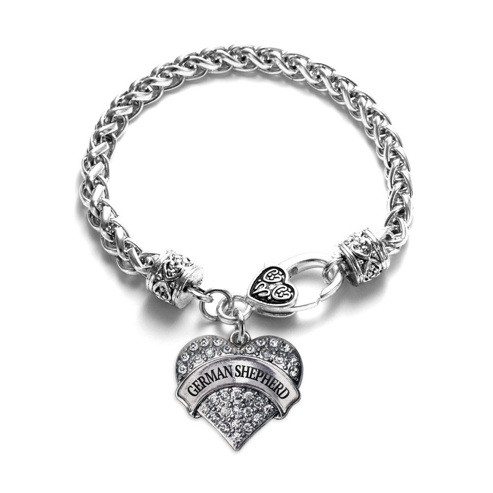 German Shepherd Pave Heart Charm