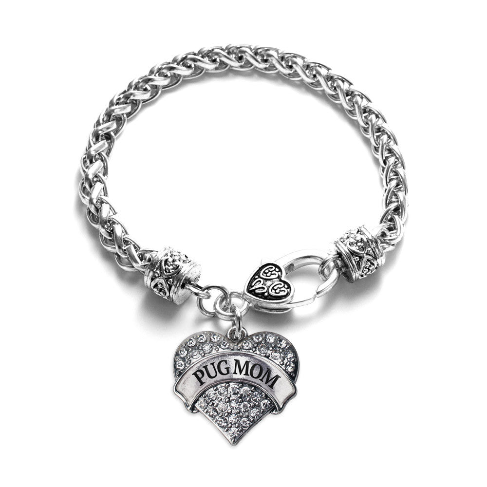 Pug Mom Pave Heart Charm