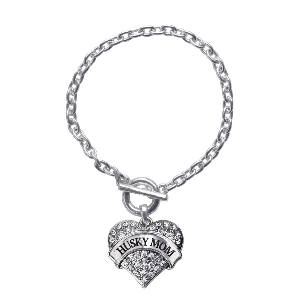 Husky Mom Pave Heart Charm