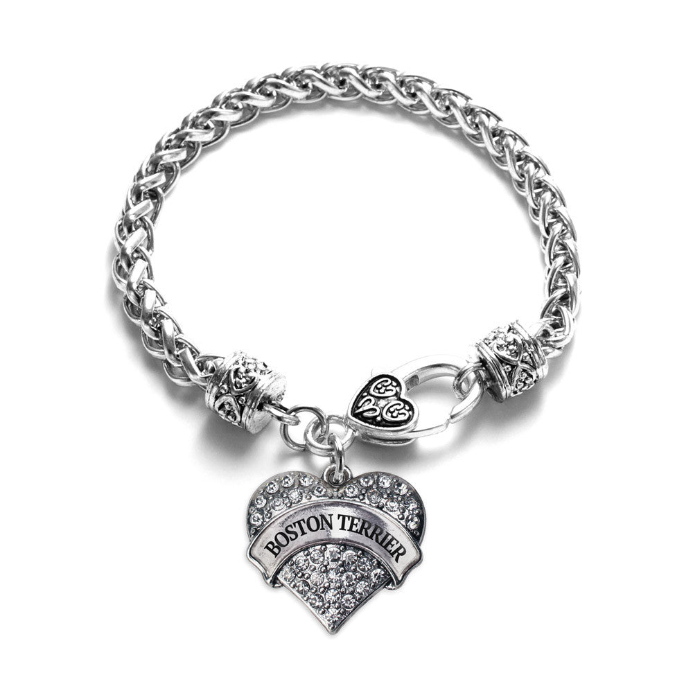 Boston Terrier Pave Heart Charm