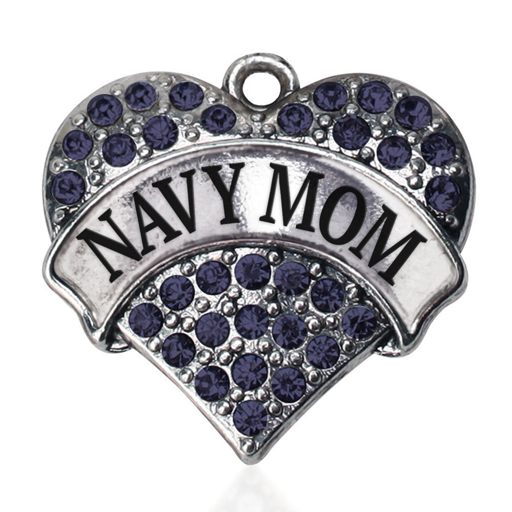 Navy Mom Pave Heart Charm