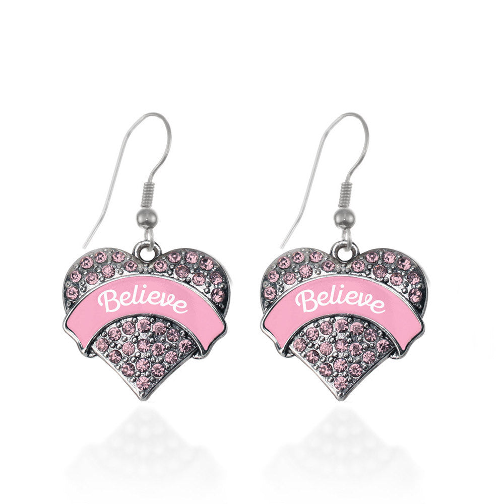Pink Script Believe Pave Heart Charm