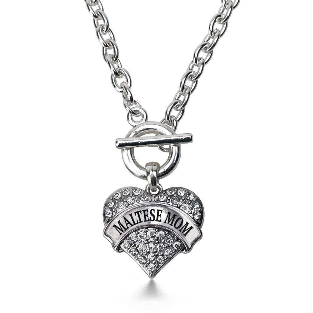 Maltese Mom Pave Heart Charm