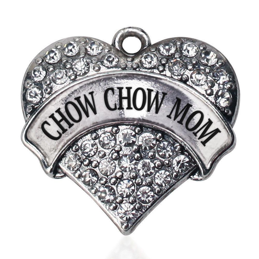 Chow Chow Mom Pave Heart Charm
