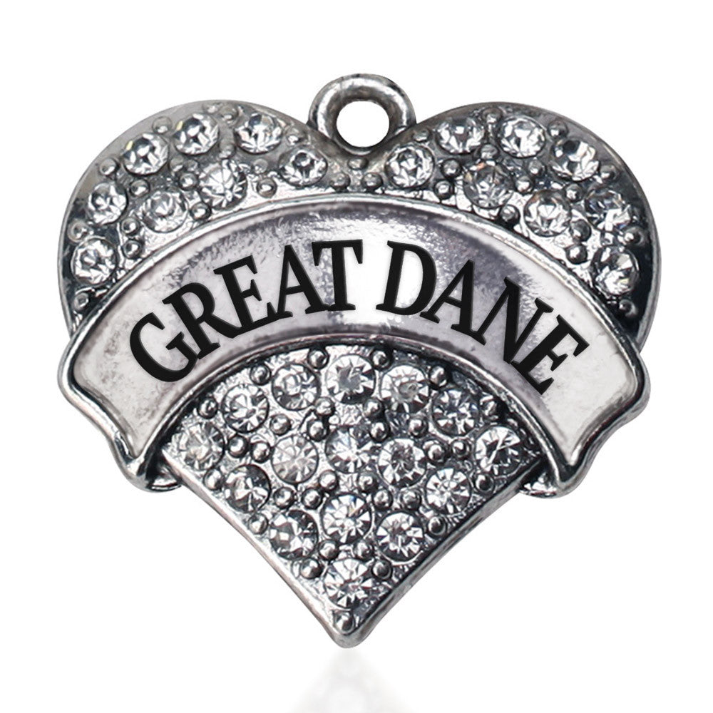 Great Dane Pave Heart Charm