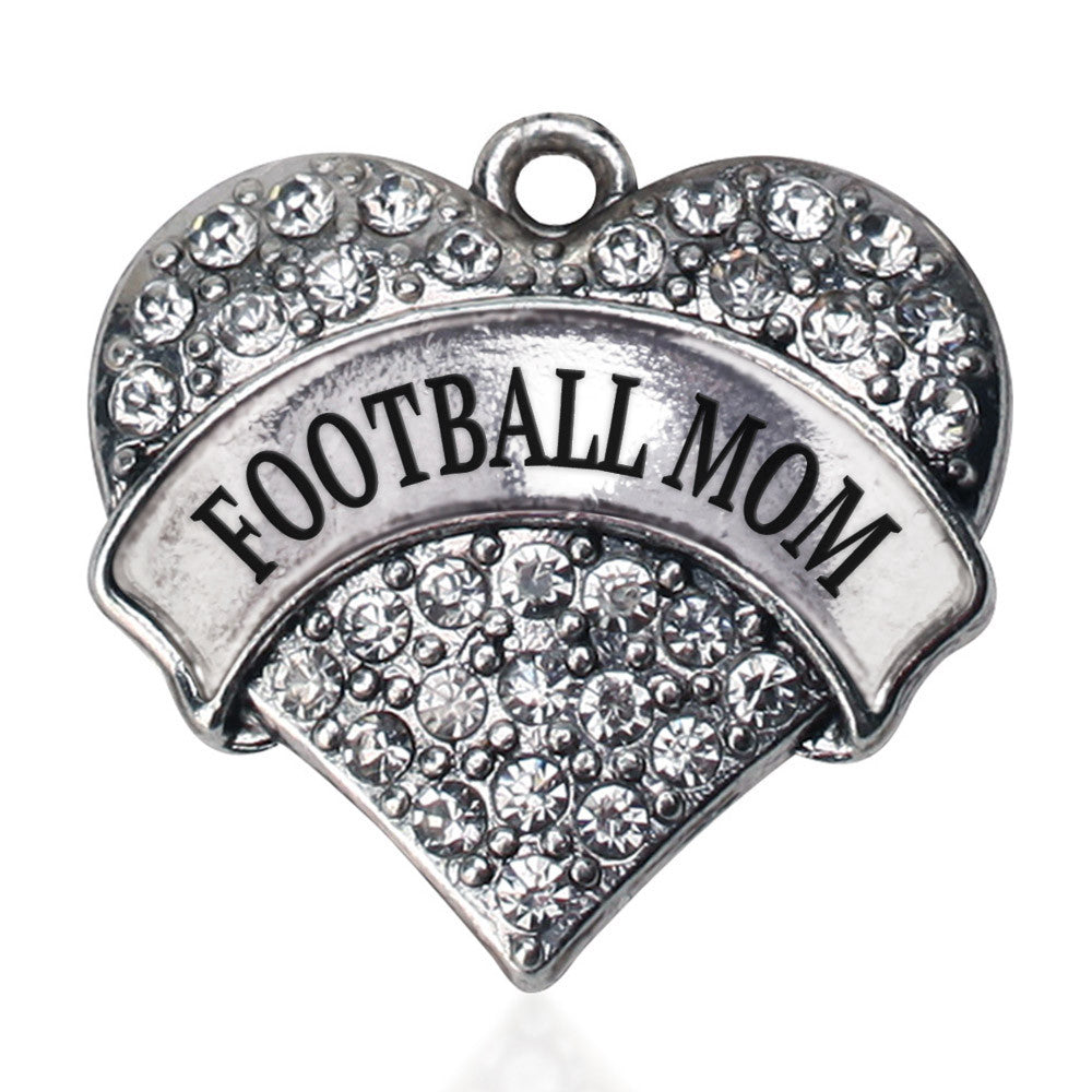Football Mom Pave Heart Charm