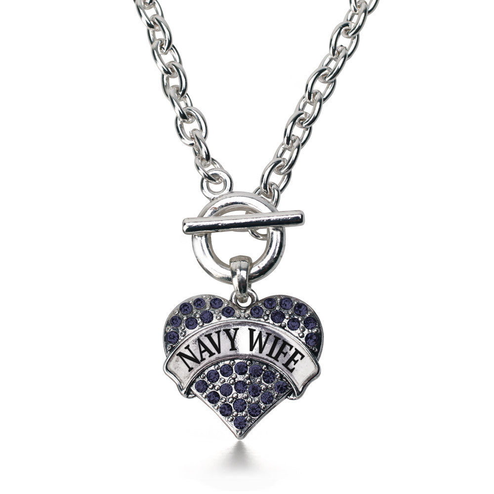 Navy Wife Pave Heart Charm