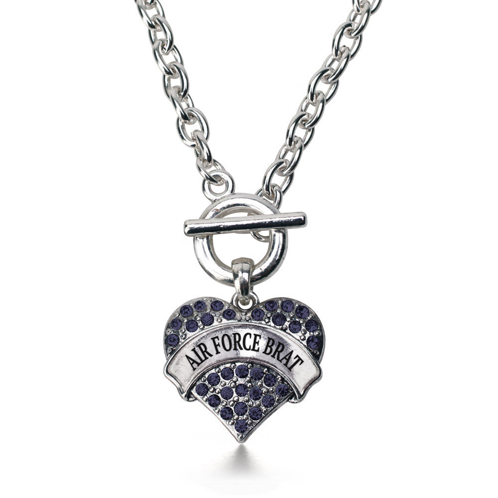 Air Force Brat Pave Heart Charm