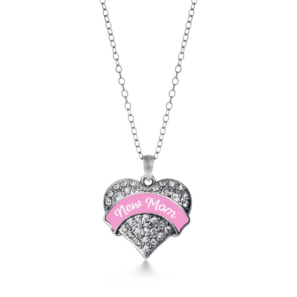 New Mom - Pink Pave Heart Charm