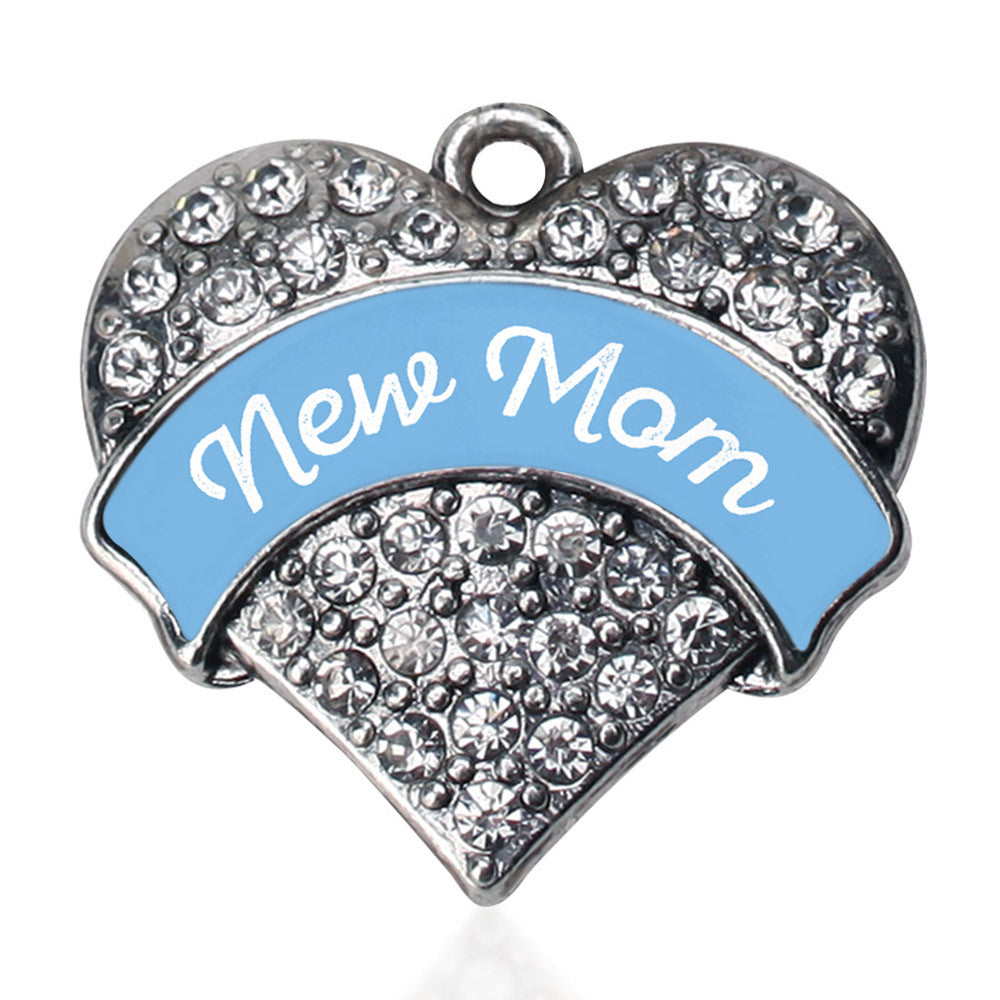 New Mom - Blue Pave Heart Charm