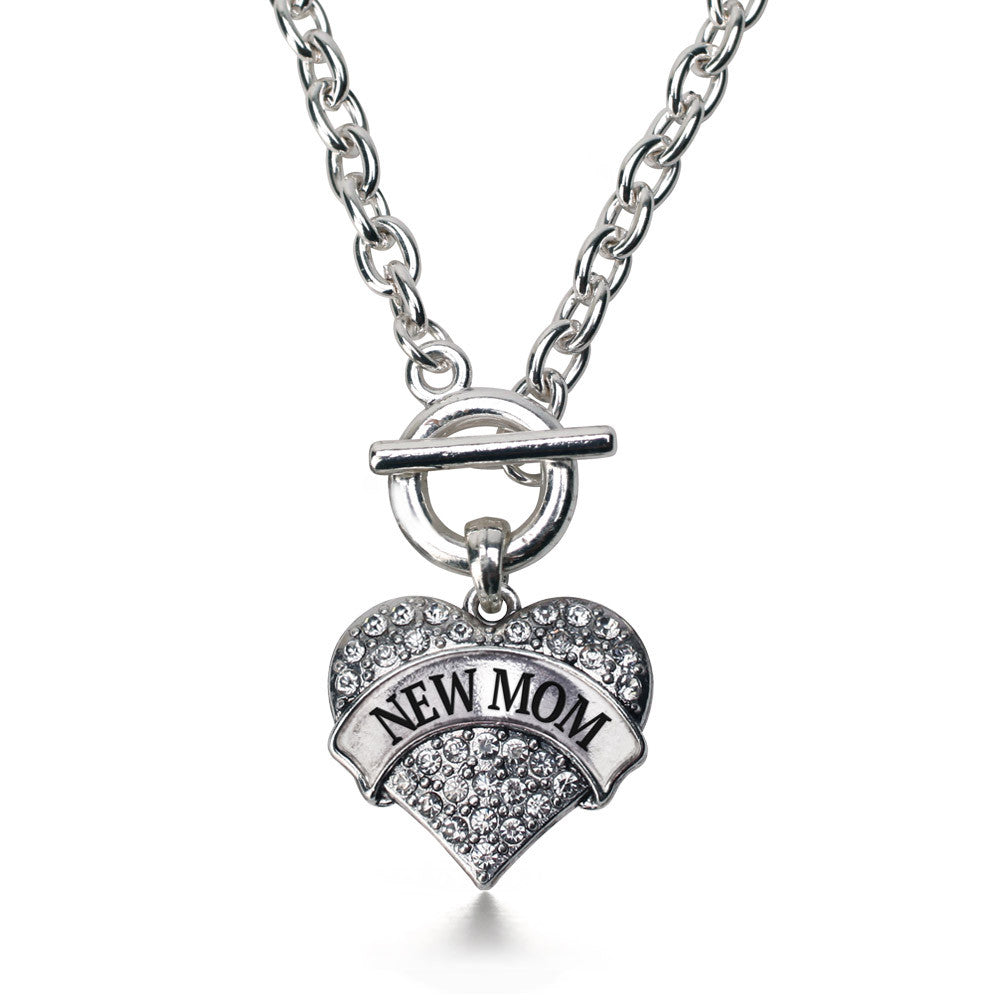 New Mom Pave Heart Charm
