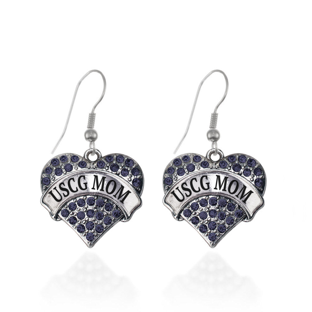 USCG Mom Pave Heart Charm