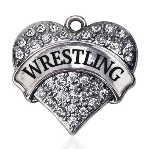 Wrestling Pave Heart Charm
