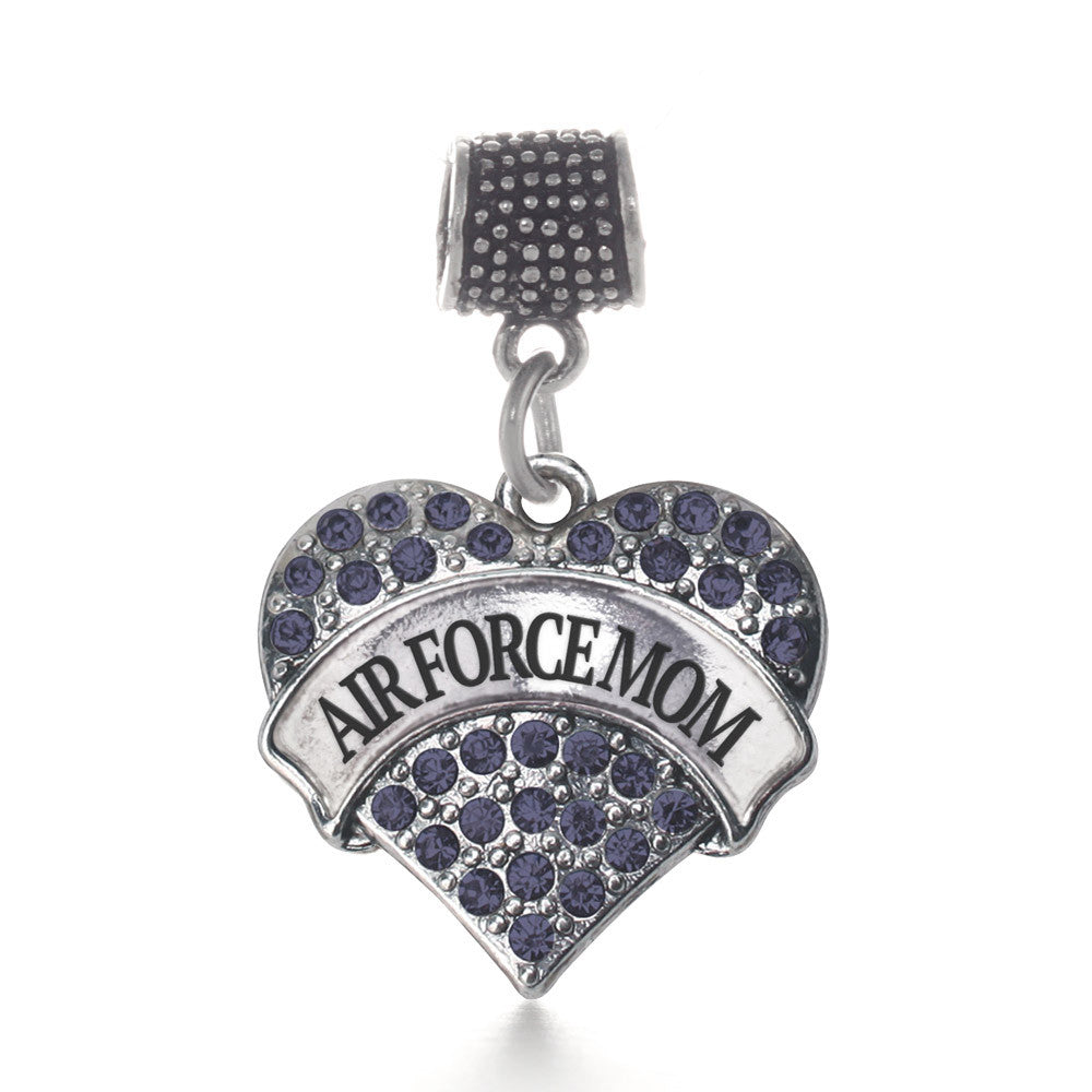 Air Force Mom Pave Heart Charm