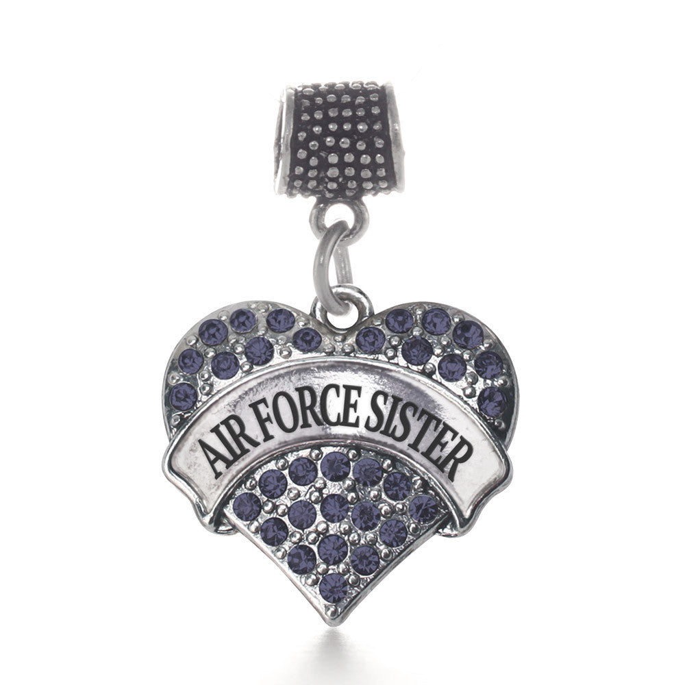 Air Force Sister Pave Heart Charm