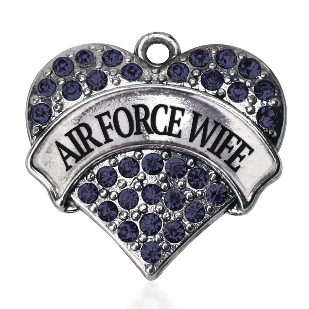 Air Force Wife Pave Heart Charm