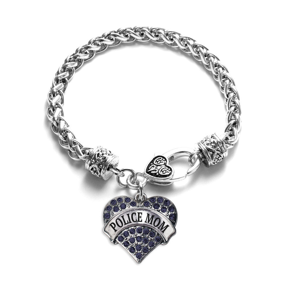 Police Mom Pave Heart Charm