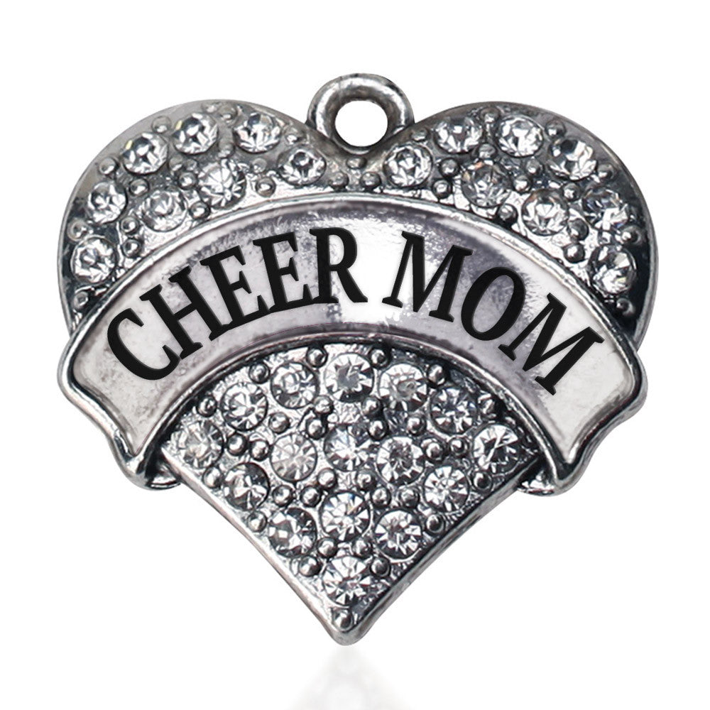 Cheer Mom Pave Heart Charm