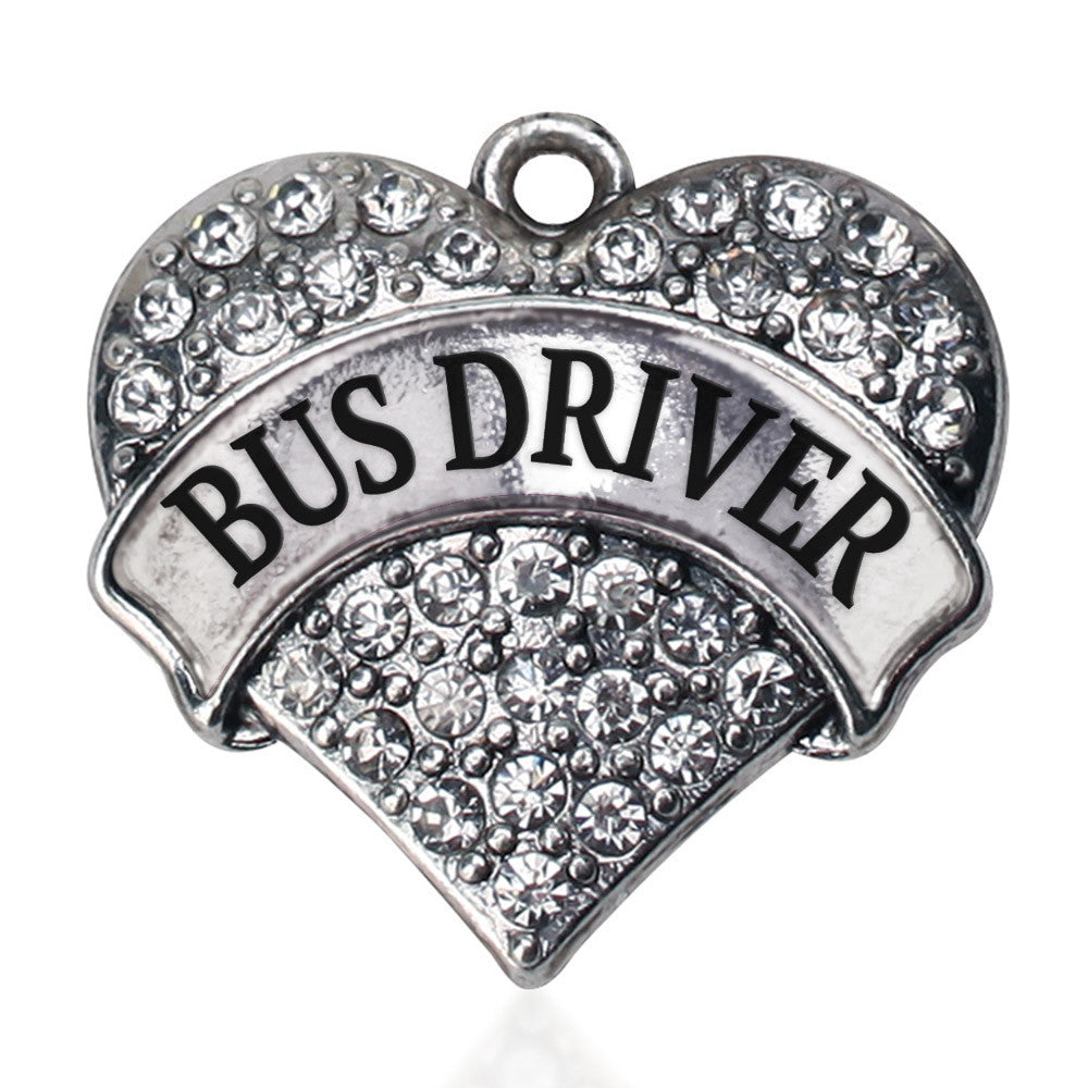 Bus Driver Pave Heart Charm