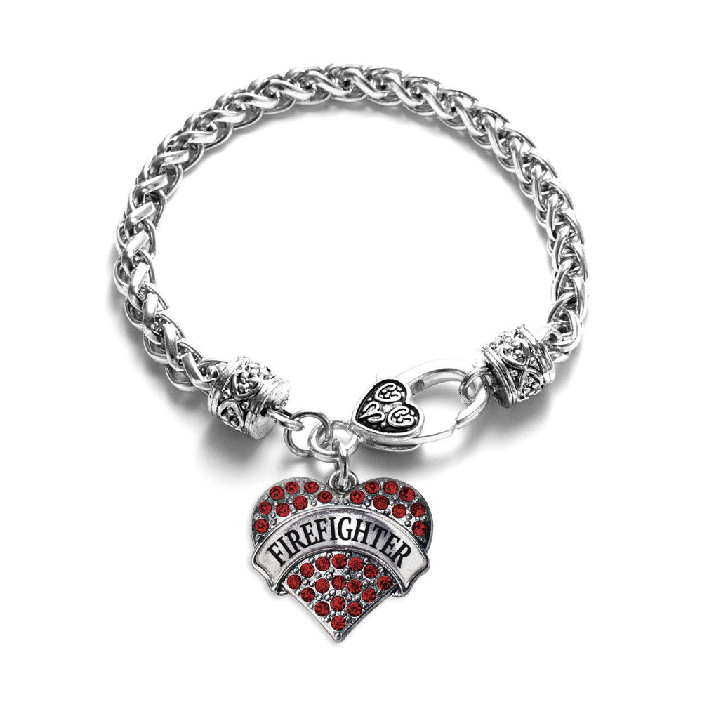 Firefighter Pave Heart Charm