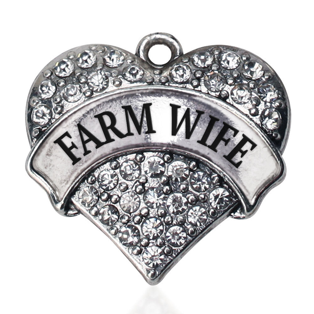 Farm Wife Pave Heart Charm