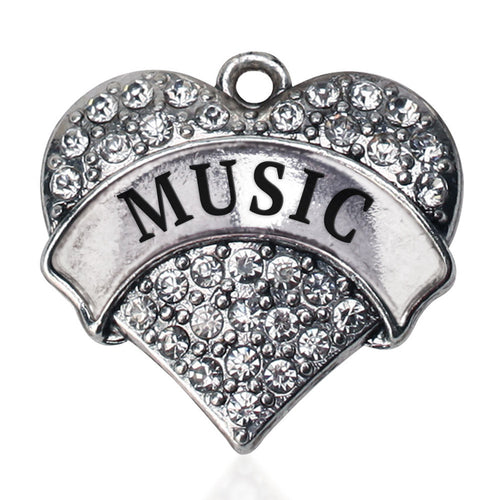 Music Pave Heart Charm