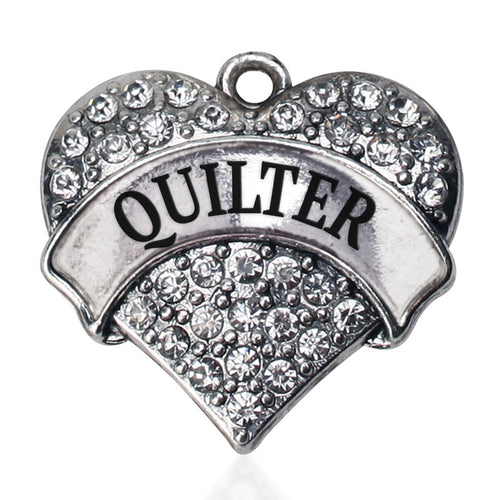 Quilter Pave Heart Charm