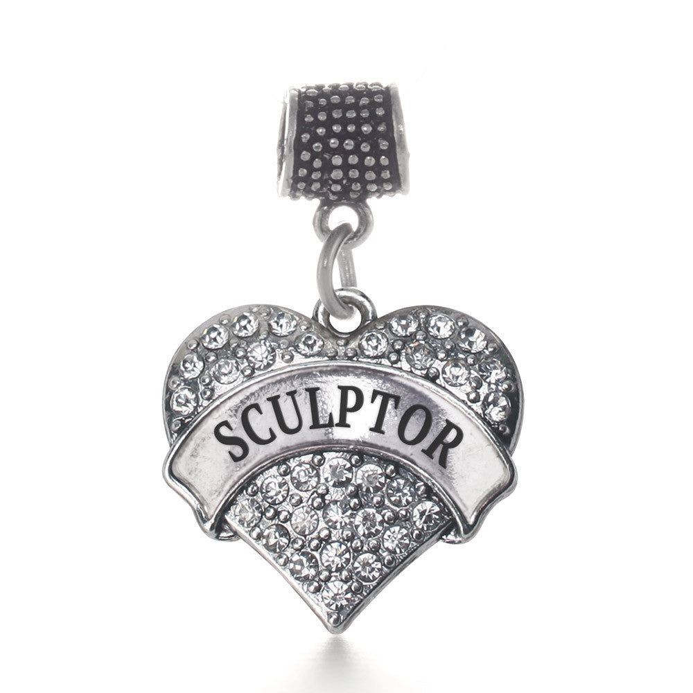 Sculptor Pave Heart Charm