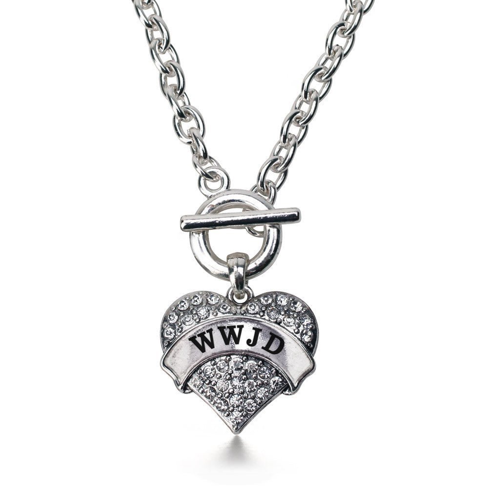WWJD Pave Heart Charm