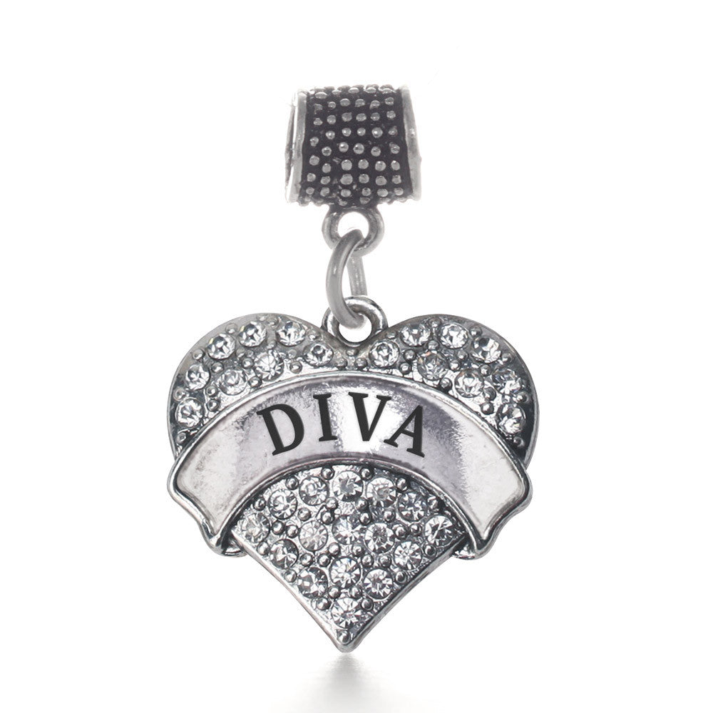 Diva Pave Heart Charm