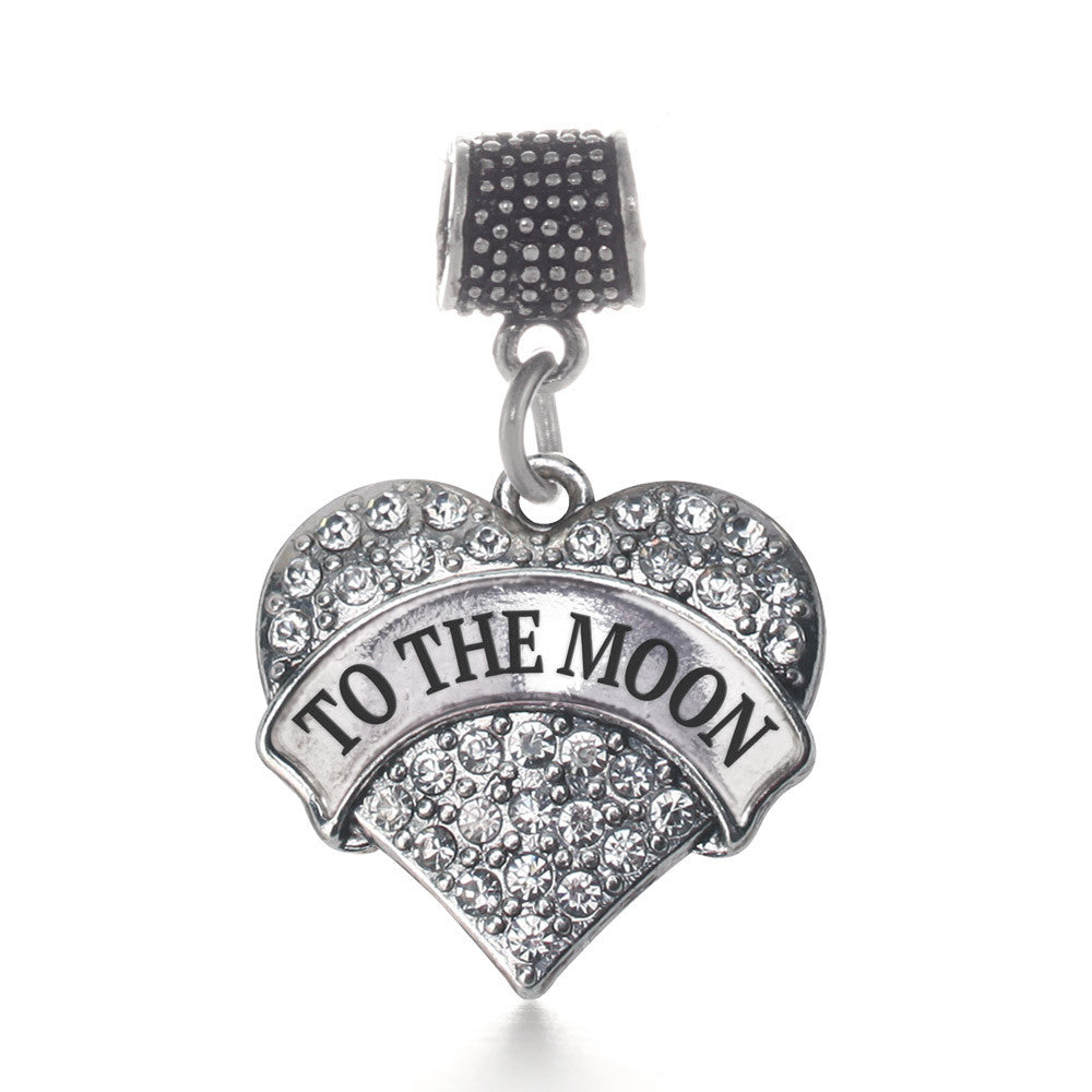 To The Moon Pave Heart Charm