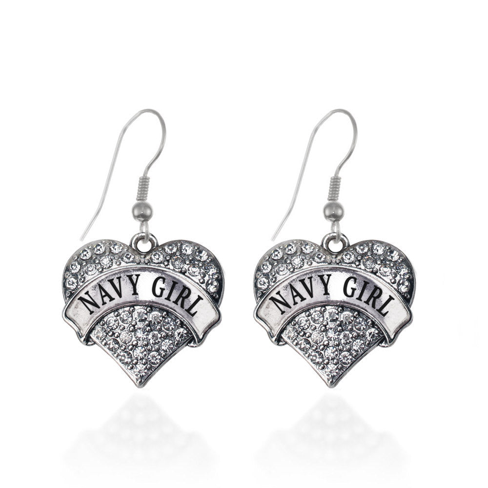 Navy Girl Pave Heart Charm