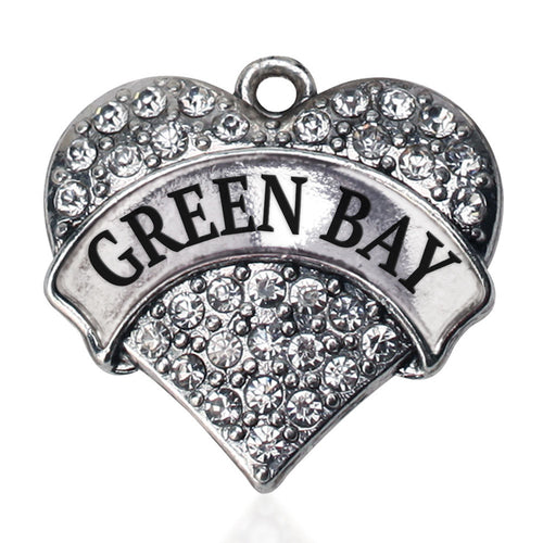 Green Bay Pave Heart Charm