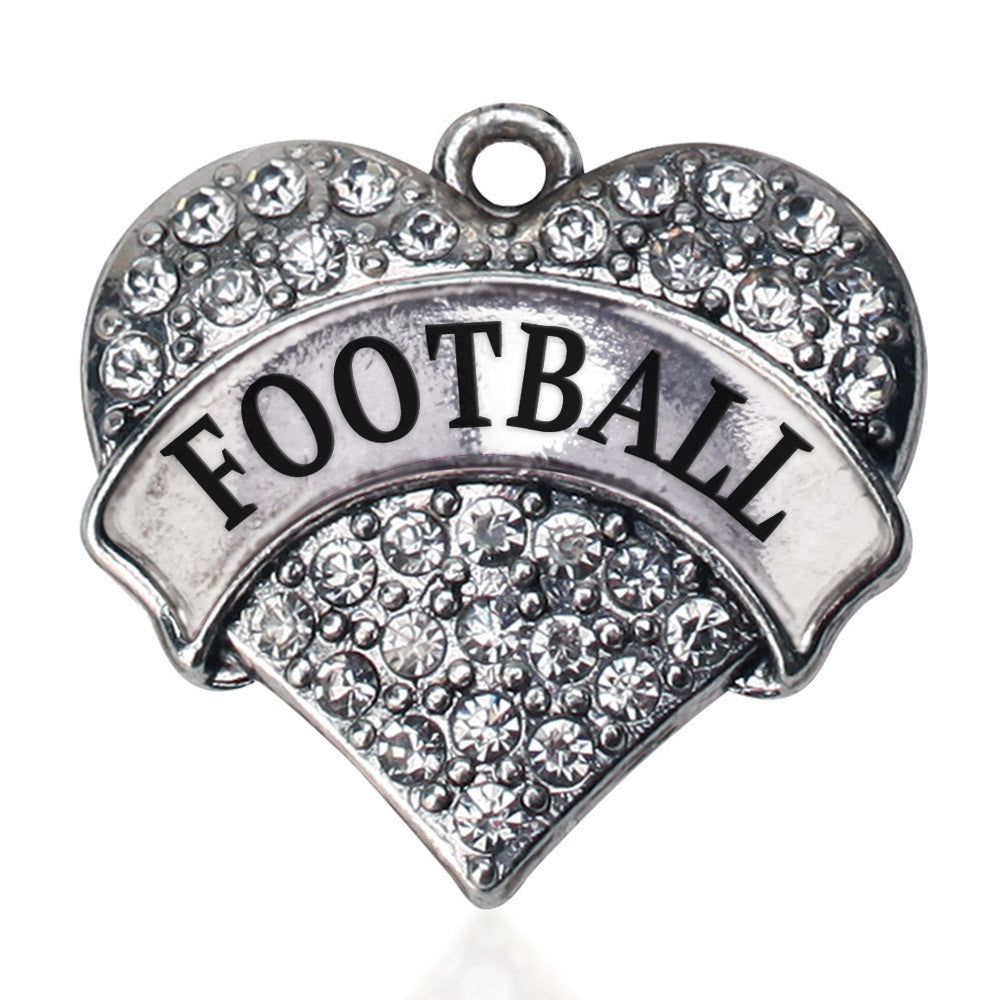 Football Pave Heart Charm