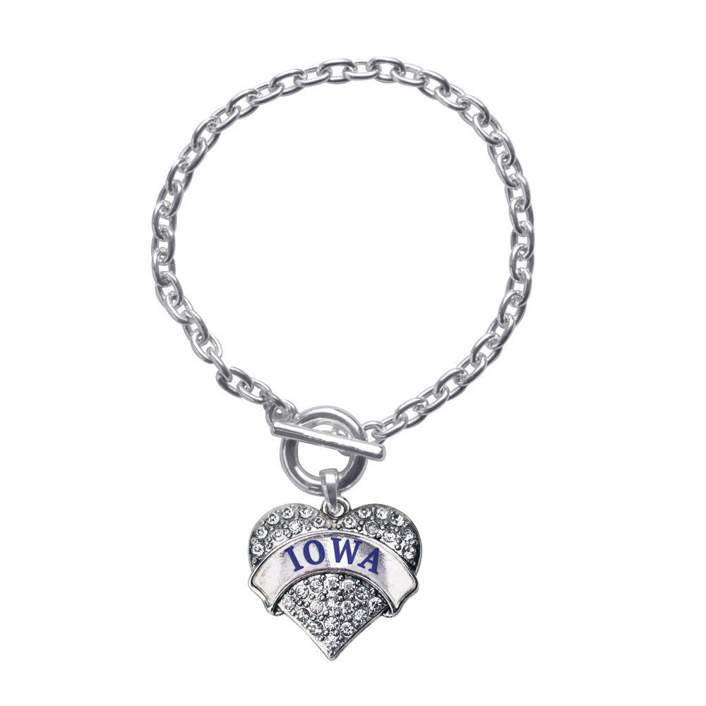 Iowa Pave Heart Charm