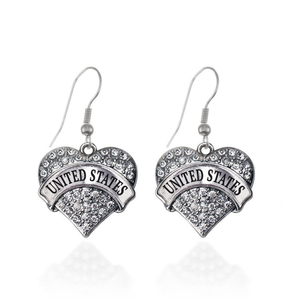 United States Pave Heart Charm