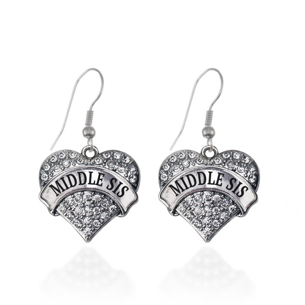 Middle Sis Pave Heart Charm