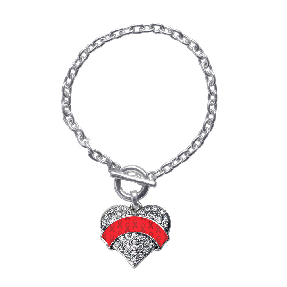 Red Ribbon Support Pave Heart Charm