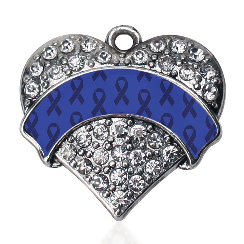 Blue Ribbon Support Pave Heart Charm