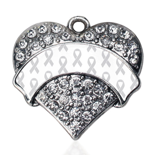 White Ribbon Support Pave Heart Charm