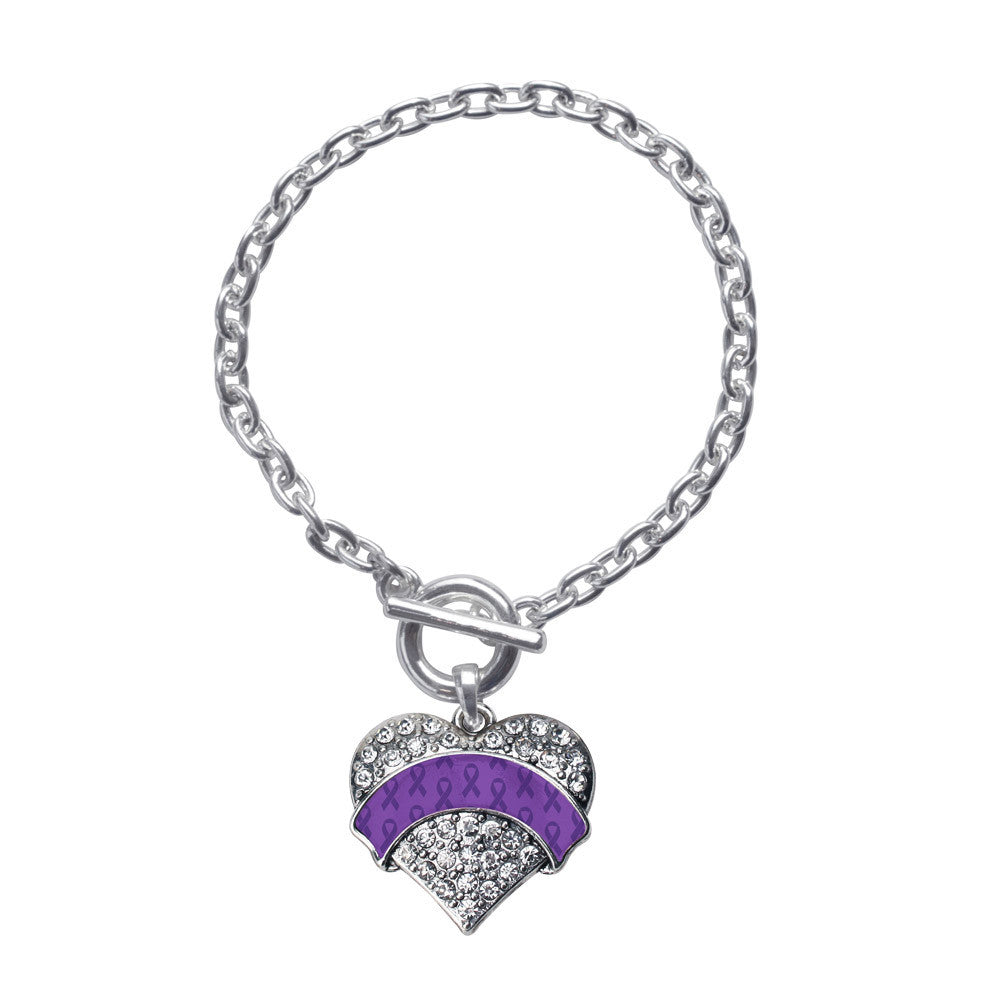 Purple Ribbon Support  Pave Heart Charm