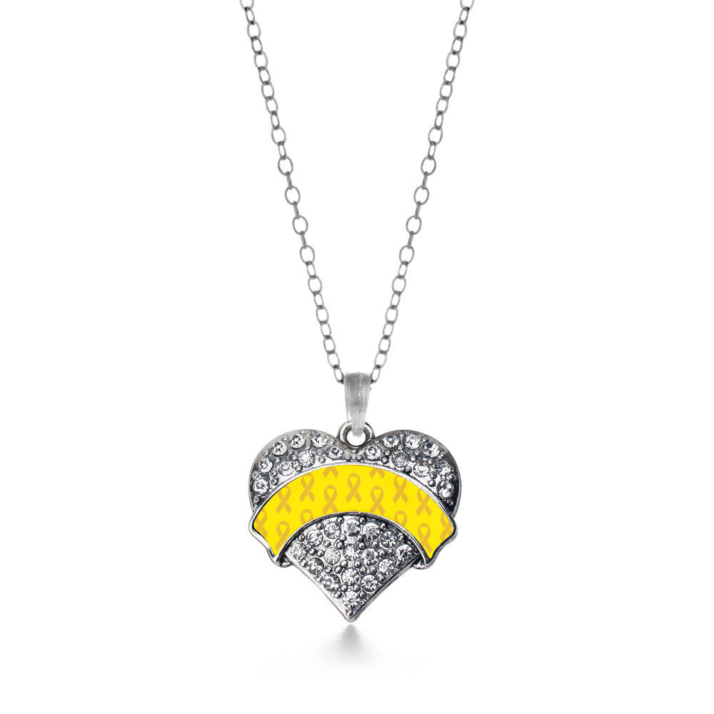 Yellow Ribbon Support Pave Heart Charm