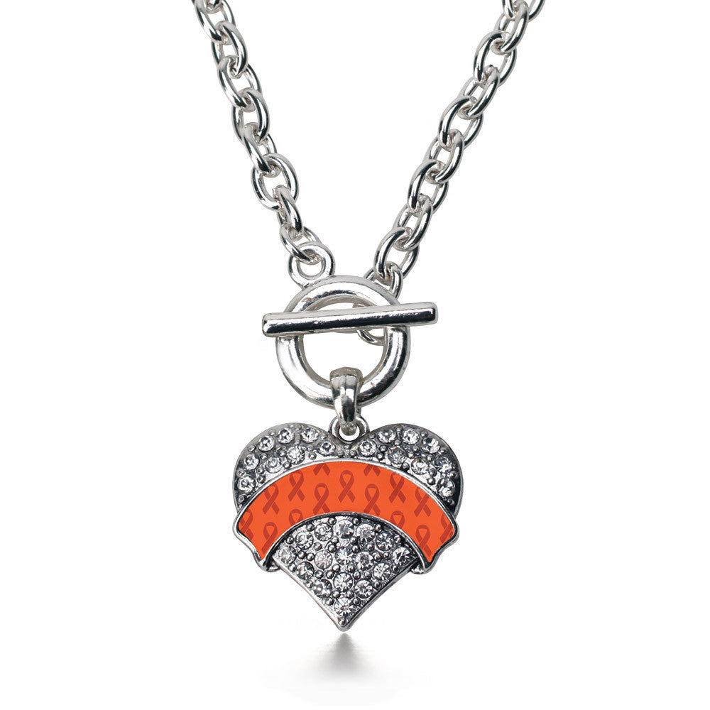 Orange Ribbon Support  Pave Heart Charm