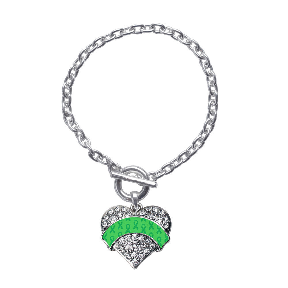 Green Ribbon Support  Pave Heart Charm