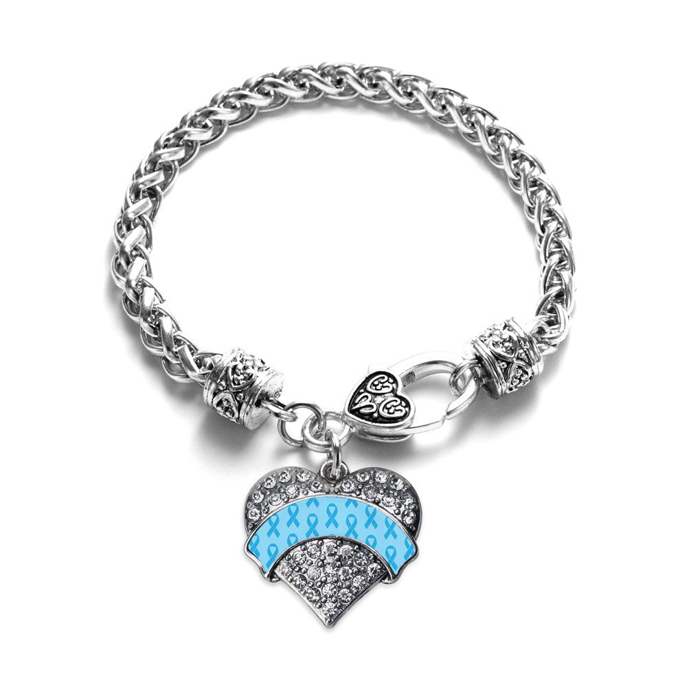 Light Blue Ribbon Support Pave Heart Charm